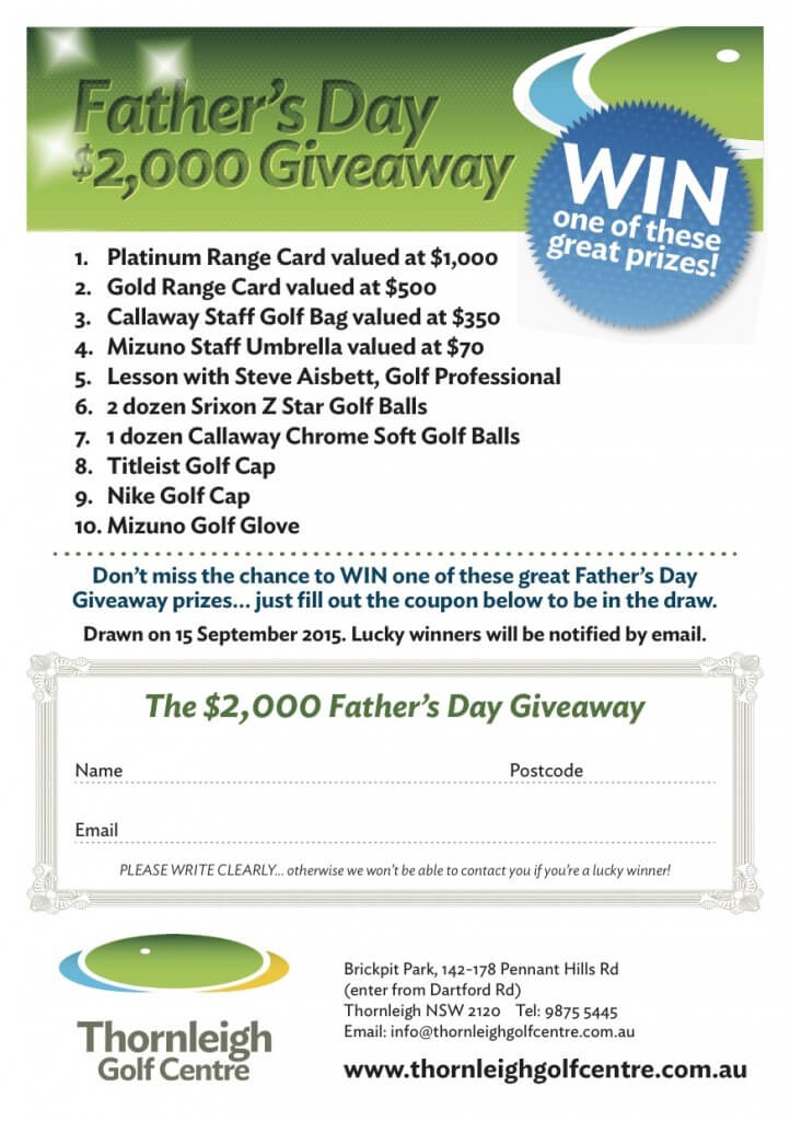 Father's Day Givewaway - Thornleigh Golf Centre
