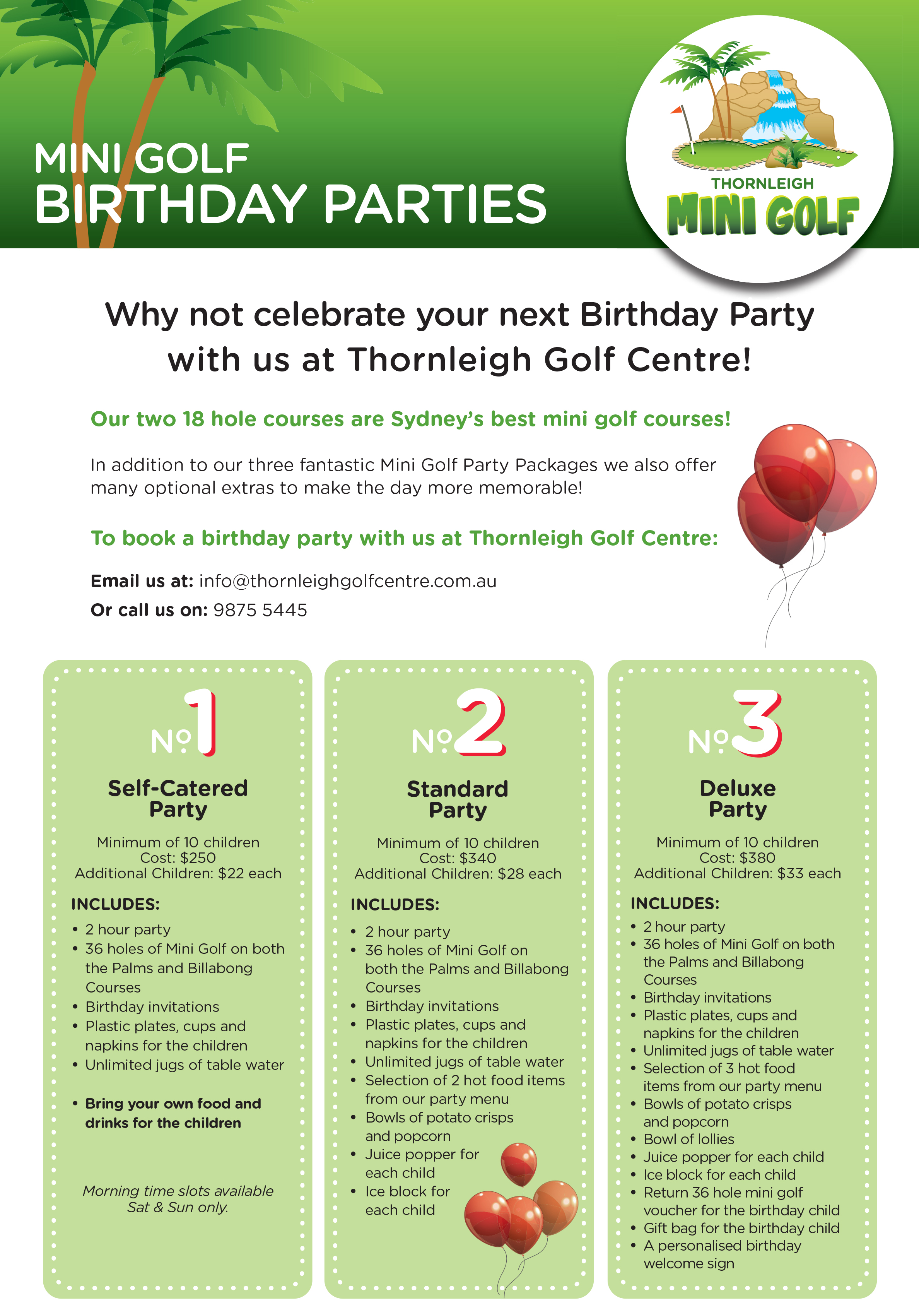 Mini golf birthday parties let us do the work thornleigh golf thornleigh golf centre filmwisefo